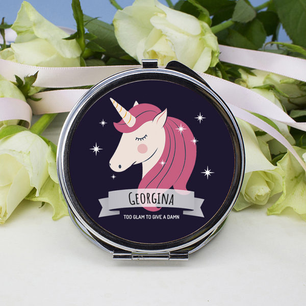 Personalised Sparkle Squad Round Navy Compact Mirror