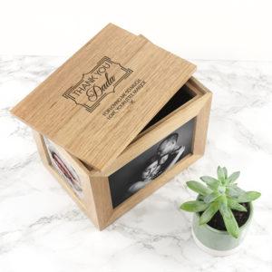 Personalised Thank You Midi Oak Photo Cube Keepsake Box