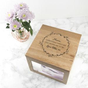 Personalised Thank You Mum Large Oak Photo Cube