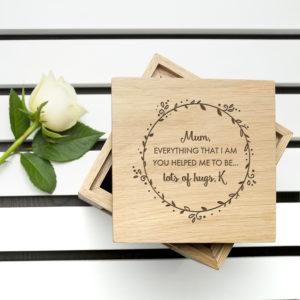 Personalised Thank You Mum Oak Photo Cube