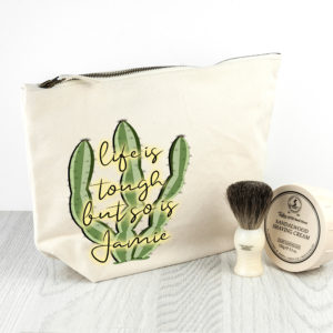Personalised Tough as Cactus Cream Wash Bag