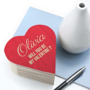 Personalised Valentines Wooden Heart Trinket Box