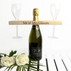 Personalised Welsh Ash Wooden Champagne Holder