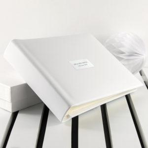 Personalised White Leather Photo Album