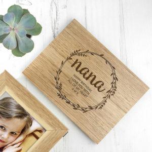 Personalised Wreath Mother's Day Midi Oak Photo Cube Keepsake Box