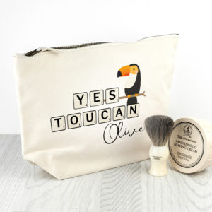 Personalised Yes Toucan Cream Wash Bag