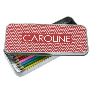 Red Chevron Pattern Pencil Case