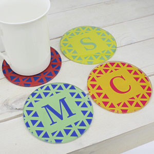 Set of Four Glass Coasters - Vibrant Design