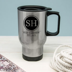 Silver Personalised Monogram Travel Mug
