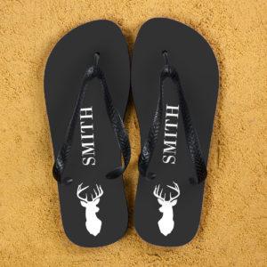 Stag Design Personalised Flip Flops in Grey
