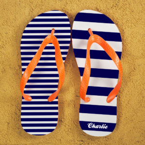 Striped Personalised Flip Flops in Blue and Orange