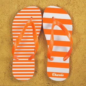 Striped Personalised Flip Flops in Orange