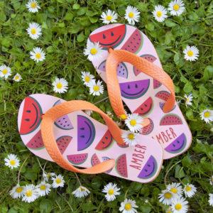 Wild Watermelon Child's Personalised Flip Flops