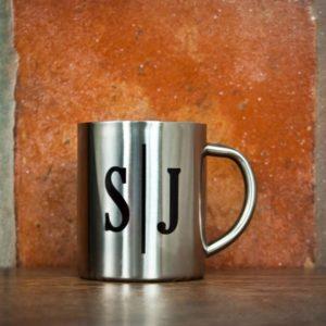 Monogram Initial Landscape Silver Outdoor Mug