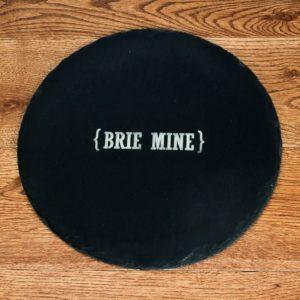 Open Personalisation Swirl Brackets Round Slate Cheese Board