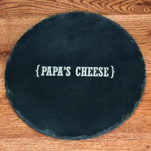 Personalised Name Swirl Brackets Round Slate Cheese Board